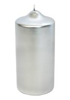 Silver Metallic Pillar  Candles (12pcs)