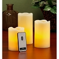 3pcs Ivory LED Pillar Candle with Remote
