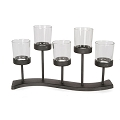 Black Metal Table Candleholder with Glass (1pc)