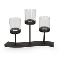 Black Metal Tabletop  Candleholder with Glass (1pc)