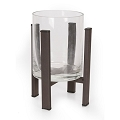 Black Metal Candleholder with Glass (1pc)