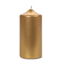 6 inch Metallic Gold Pillar  Candles (12pcs)
