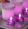 Pink Frosted Tea Light 3 per Pack