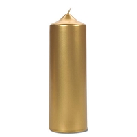 8 Inch Metallic Gold  Pillar Candles (12pcs)