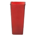 9 INCH RED FROSTED SQUARE  GLASS VASE  (12PCS)