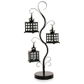 Candle Lanterns & Stand Satin Black Metal. (1pc)
