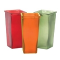 FROSTED SQUARE  RED, GREEN AND ORANGE GLASS VASE (12PCS)