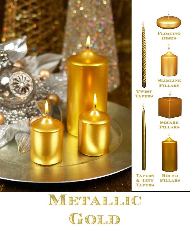 bulk gold metallic pillar candle. Black Bedroom Furniture Sets. Home Design Ideas