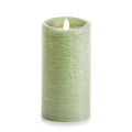 7-inch Luminara Rustic Green Pillar Candle
