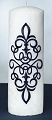 Navy Blue Scroll White Palm Wax Pillar Candle