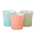 4.25 INCH PASTEL COLORS CANDLE GLASS 3 ASST  (12pcs)