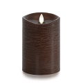 5-inch Luminara Rustic Brown Pillar Candle