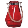 RED GLASS VASE W/ROPE HANDLE (4pcs)