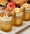 Gold Plated Cord/Rhinestone Votive Candle(12pcs)