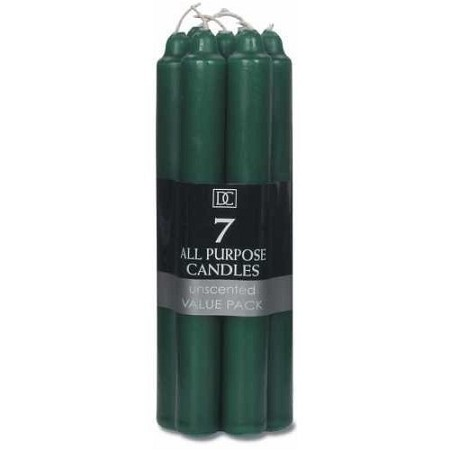 7 Inch Hunter Green Formal Taper Candle (7pcs)