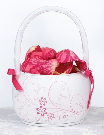 "7"" Pink Floral Flower Basket"