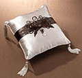 Brown Scroll Ring Pillow